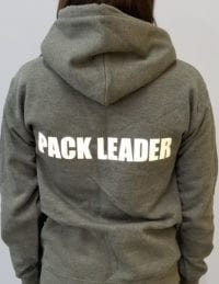 Leader of the Pack Canine Institute gray sweatshirt, back view